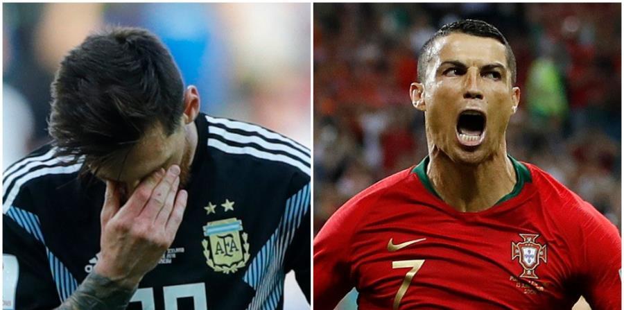Ala derecha, Cristiano Ronaldo festeja uno de los tres goles que marcó en el empate 3-3 de Portugal y España. A la izquierda, Messi se cubre los ojos durante el empate 1-1 de Argentina e Islandia. (AP) (horizontal-x3)