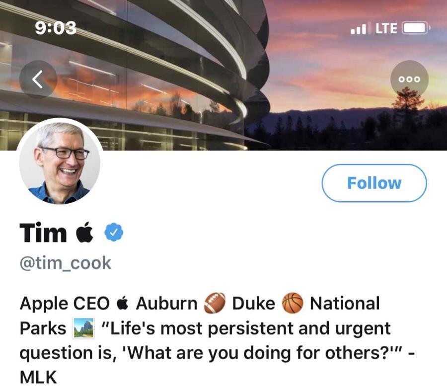 Así se ve el perfil del presidente de Apple luego de cambiar el nombre de su cuenta en Twitter (semisquare-x3)