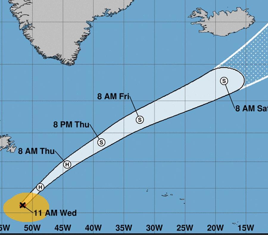 Vista del cono de incertidumbre de la trayectoria del huracán Oscar. (NHC) (semisquare-x3)