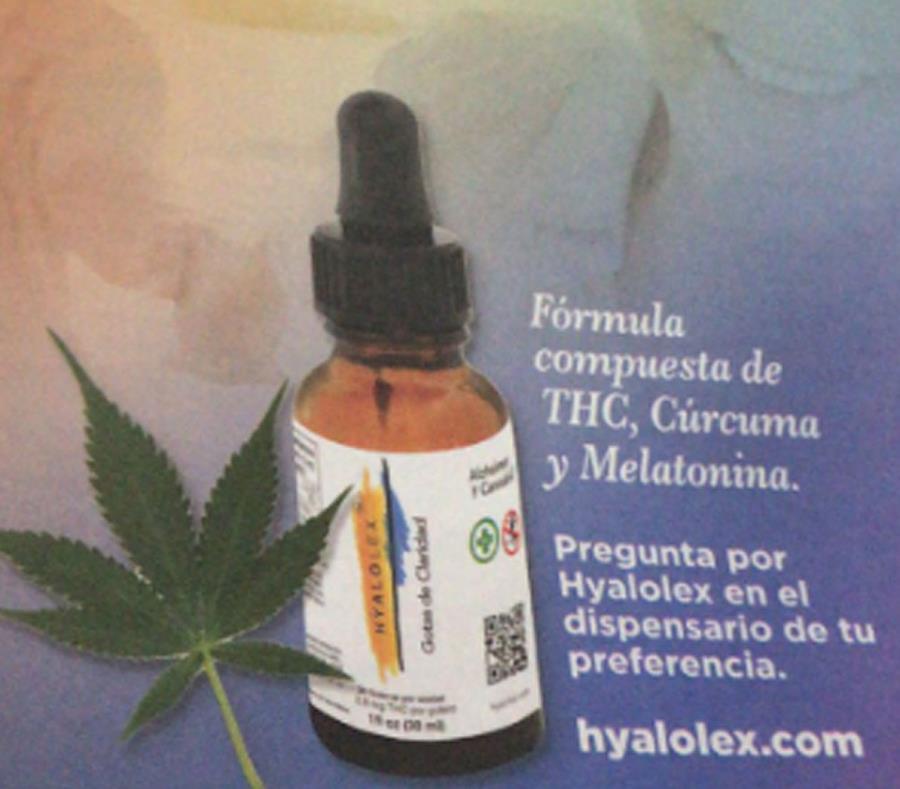 Hyalolex fue diseñado para uso complementario a la medicina tradicional y contiene una dosis baja de THC derivado de cannabis, combinado con otros ingredientes naturales tales como cúrcuma y melatonina. (Imagen de Twitter) (semisquare-x3)