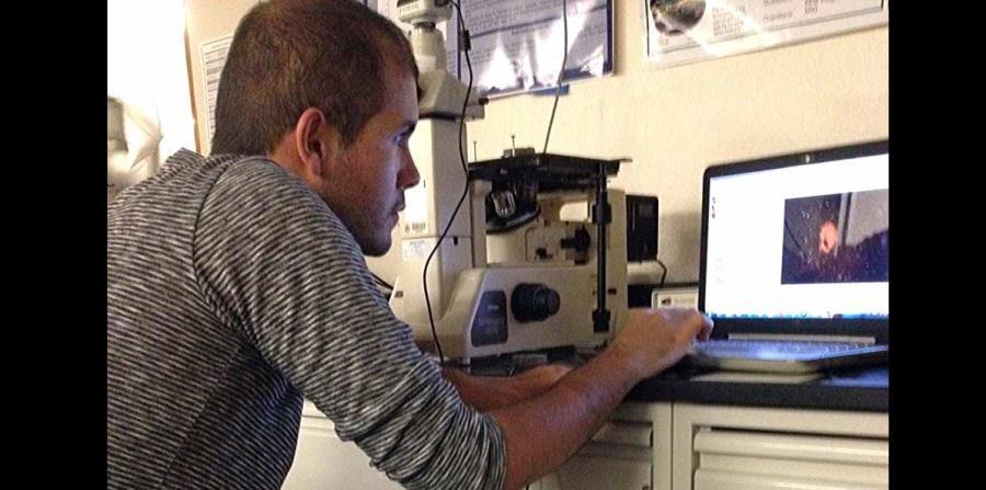Carlos Medina estudia la microestructura del concreto en uno de los microscopios del Laboratorio de Caracterización de Materiales del RUM (horizontal-x3)