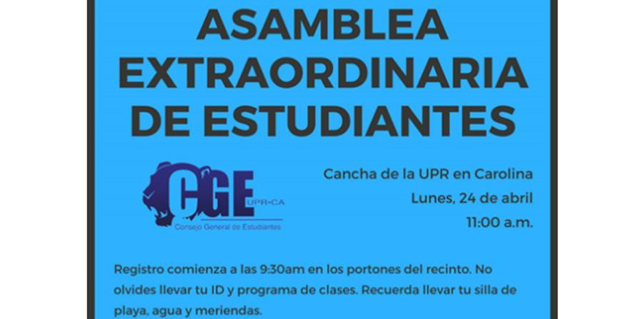 Anoche los estudiantes de la UPR de Carolina decidieron en una asamblea extraordinaria, que se extendió por casi 10 horas, concluir la huelga indefinida que mantenían. (horizontal-x3)