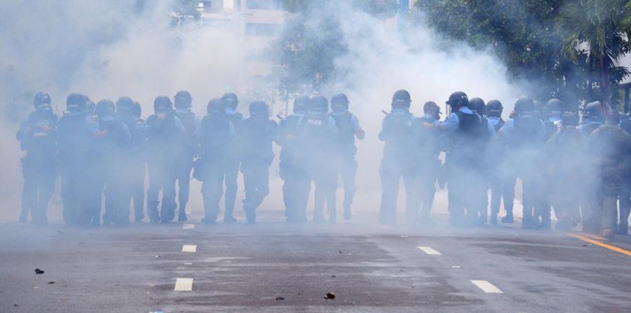 La División de Operaciones Tácticas no hizo su aparición en la manifestación hasta cerca de las 2:15 p.m. (horizontal-x3)