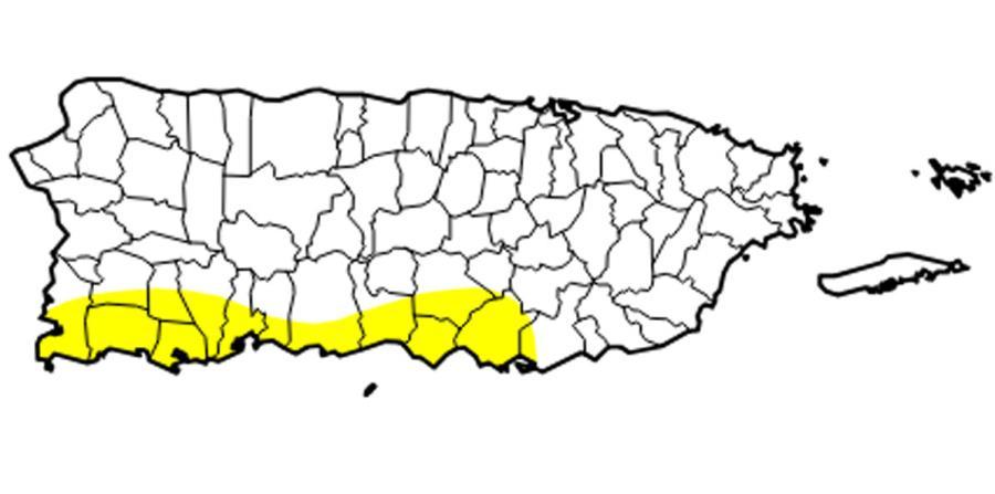 Mapa del Monitor de Sequía de los Estados Unidos sobre la zona