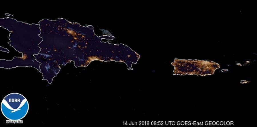 Imagen del satélite GOES-16 tomada a las 5:00 a.m. de hoy jueves, 14 de junio. (Captura / NOAA) (horizontal-x3)