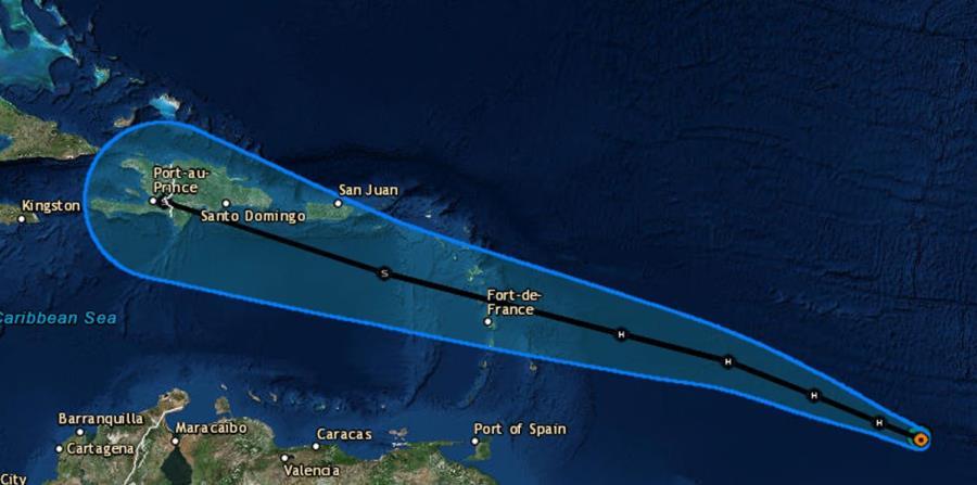 Imagen de la trayectoria trazada por el Centro Nacional de Huracanes. (Captura / NOAA) (horizontal-x3)