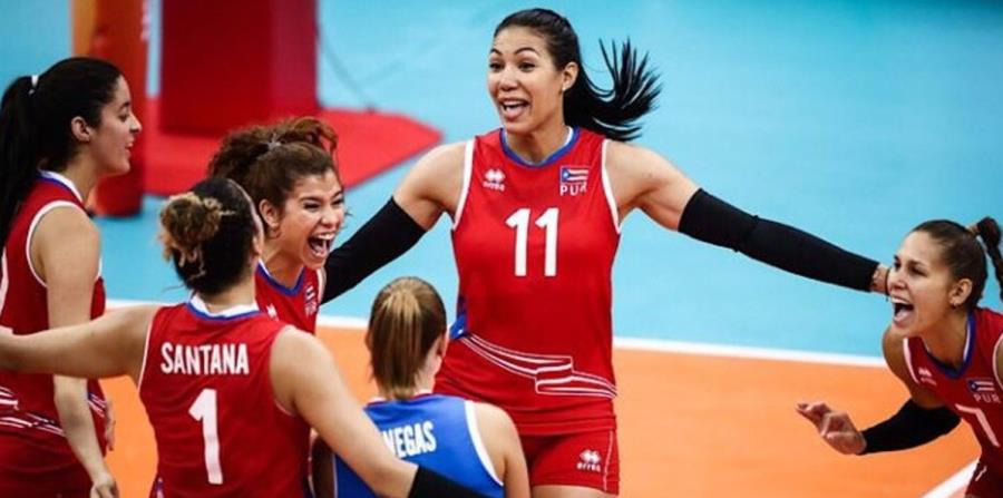 Las jugadoras boricuas celebran el triunfo ante México. (Captura / fedpurvoli.com) (horizontal-x3)