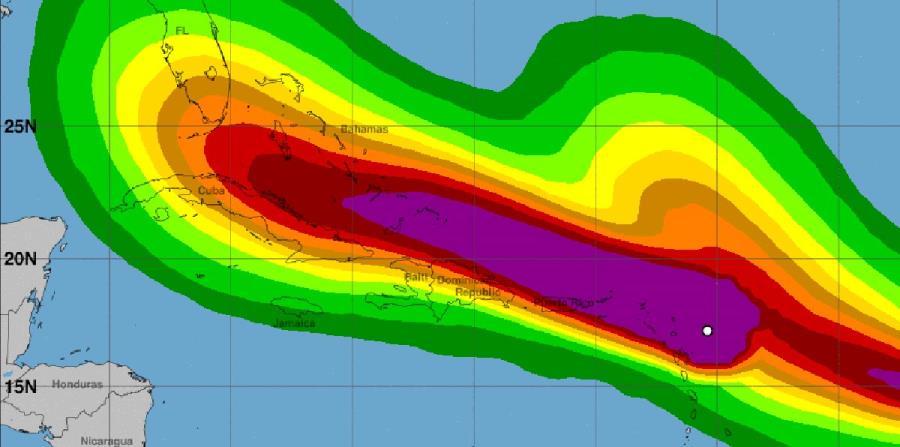 Imagen de la probabilidad de la intensidad de los vientos que se registrarían ante el paso de Irma. (NOAA)