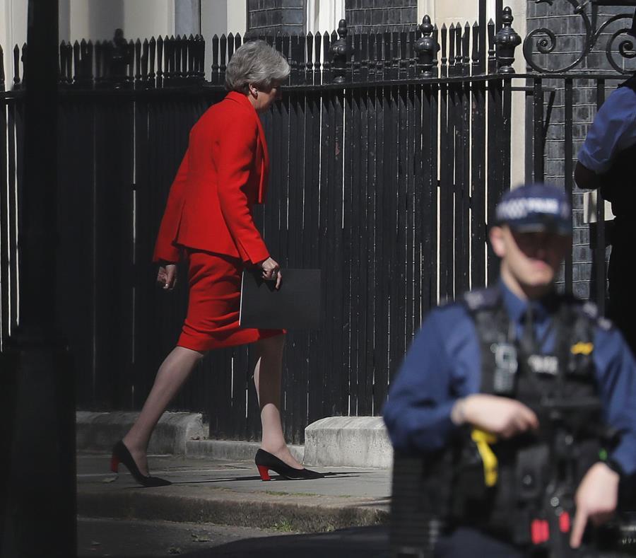 Theresa May se pronunció en Downing Street, en Londres (semisquare-x3)
