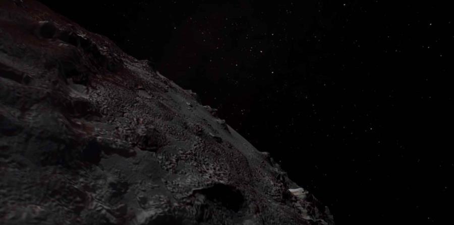 El paso por Plutón, según el audiovisual, se inicia sobre las tierras altas al suroeste de Sputnik Planitia. (horizontal-x3)