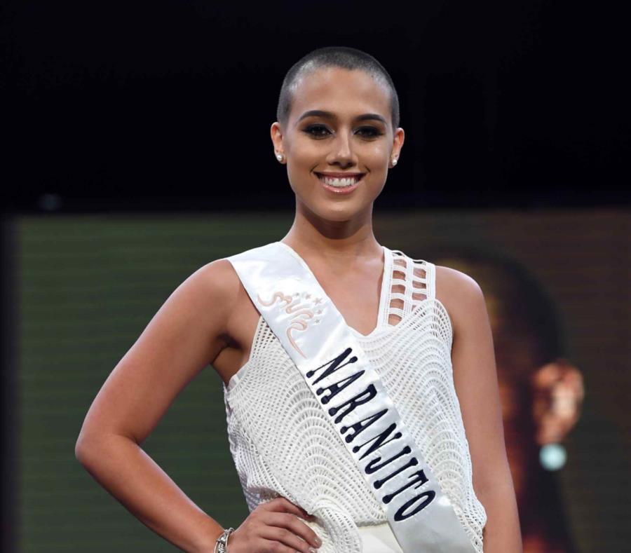 """Miss Naranjito, Sabrina Rodríguez, participa en el certamen de este año con su cabeza rapada """"en solidaridad a los pacientes de cáncer"""". (semisquare-x3)"""