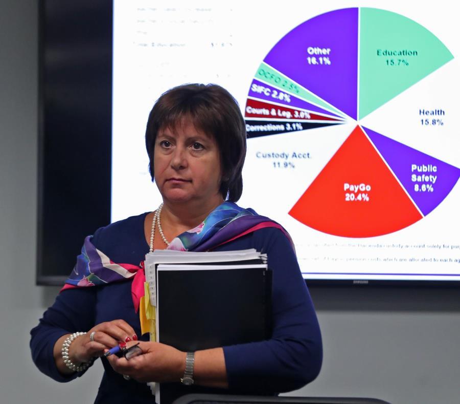 A finales de mayo, la JSF envió su versión del presupuesto a la Legislatura. En la foto, la directora ejecutiva, Natalie Jaresko, tras presentar los detalles básicos de los ingresos y gastos del próximo año fiscal. (semisquare-x3)