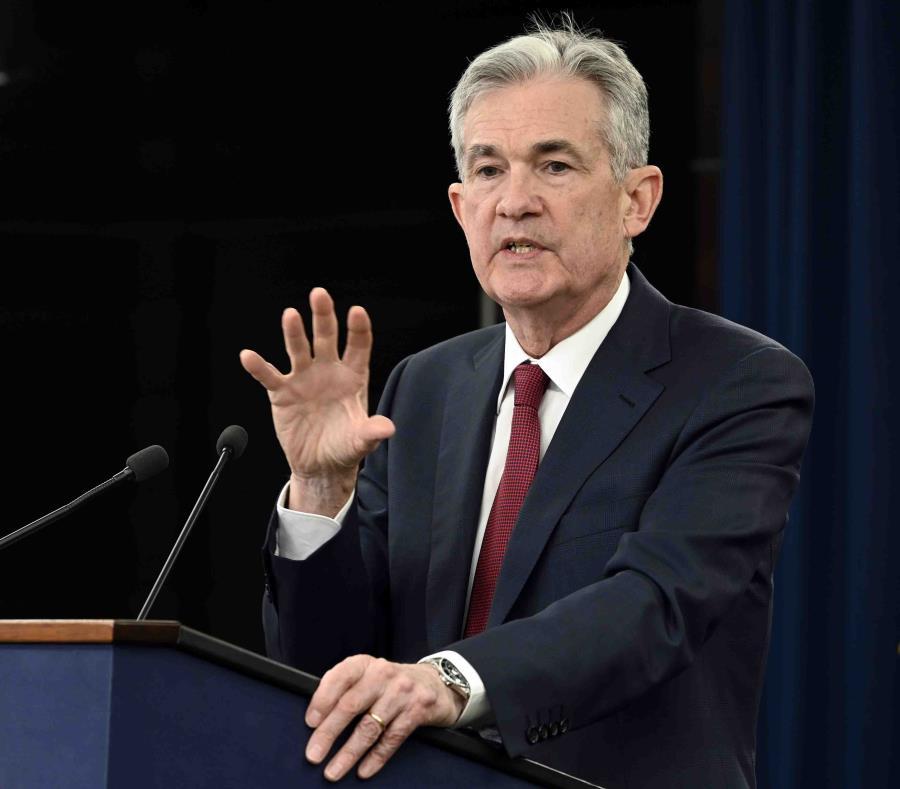 El presidente de la Reserva Federal, Jerome Powell, en conferencia de prensa. (semisquare-x3)