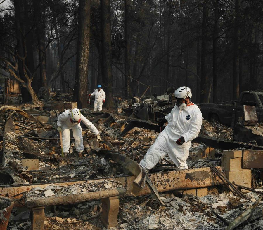 Personal de búsqueda y rescate buscan restos humanos en las ruinas de una estructura destruida por el incendio en Paradise, California. (AP) (semisquare-x3)