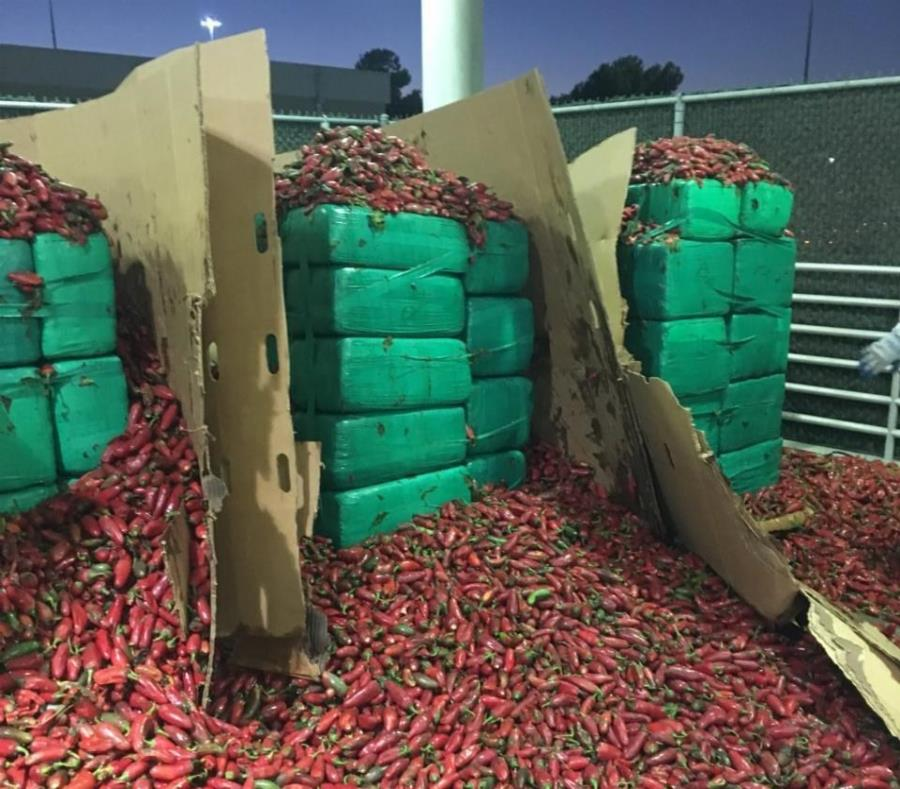 Encuentran 7500 libras de marihuana en un cargamento de jalapeños en California