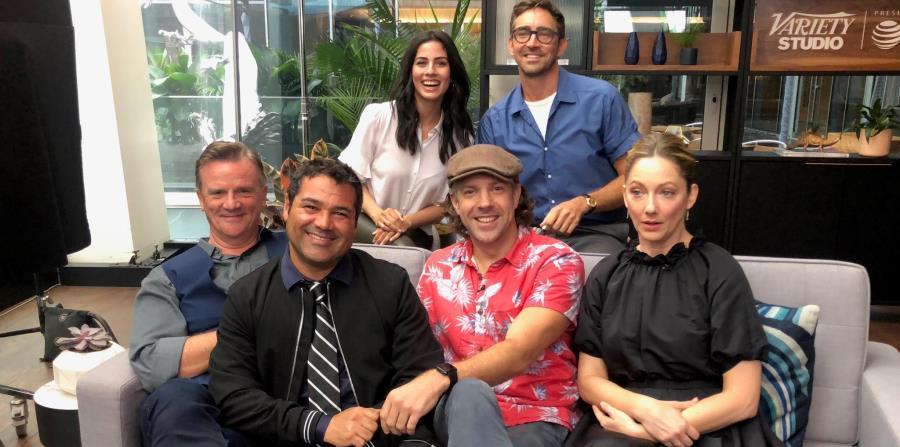 Sentados: Nick Hamm, director, Luillo Ruiz, productor, y los actores Jason Sudeikis y Judy Greer. De pie: los actores  Isabel Arraiza y Lee Pace. (Suministrada) (horizontal-x3)