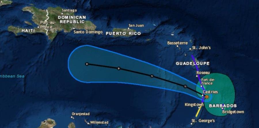Pronóstico impuesto sobre un mapa de la trayectoria de la tormenta tropical Kirk en los próximos dos días. (Captura / Centro Nacional de Huracanes) (horizontal-x3)