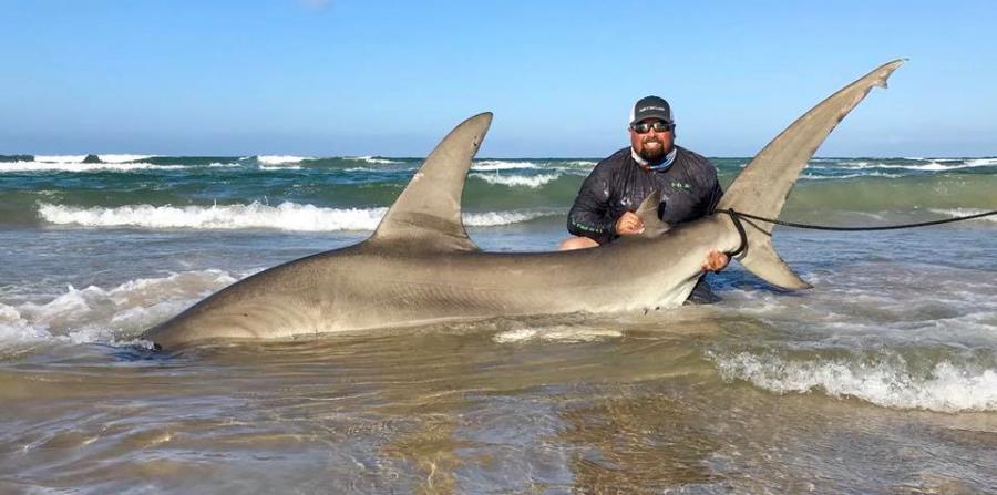 Poco Cedillo junto al tiburón martillo que capturó. (Facebook) (horizontal-x3)