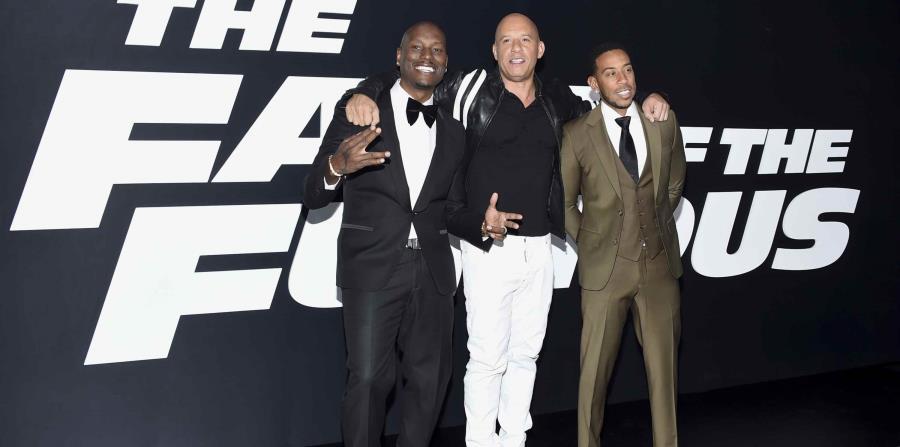 Tyrese Gibson, Vin Diesel y Ludacris, de izquierda a derecha, asisten al estreno mundial de