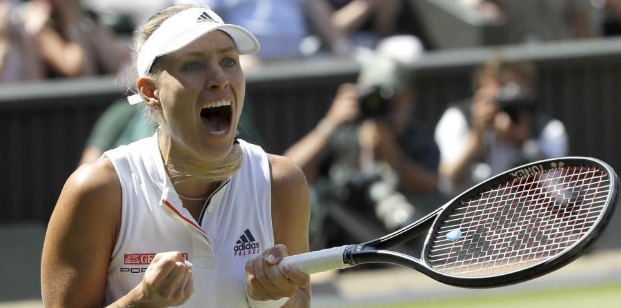 Kerber reacciona luego de conseguir la victoria. (AP) (horizontal-x3)