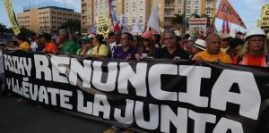 Grupos sindicales marcharon en contra del gobernador