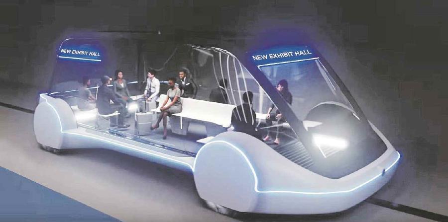 Concepción artística de un vehículo eléctrico autónomo de alta velocidad (AEV) realizada por The Boring Company (TBC) aprobado por la Autoridad de Turismo y Convenciones de Las Vegas, Nevada. (EFE) (horizontal-x3)