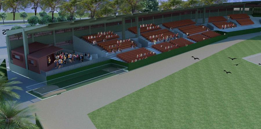 """Ilustración electrónica de cómo podría quedar la nueva """"plazoleta"""" planificada para el estadio Yldefonso Solá Morales. (Suministrada)"""
