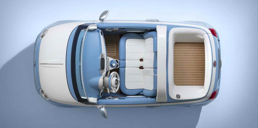 Este 500 tan especial dice adiós a los dos asientos delanteros, a favor de un asiento delanter tipo sofá.