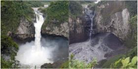 Un satélite de la NASA capta la desaparición de la cascada más grande de Ecuador