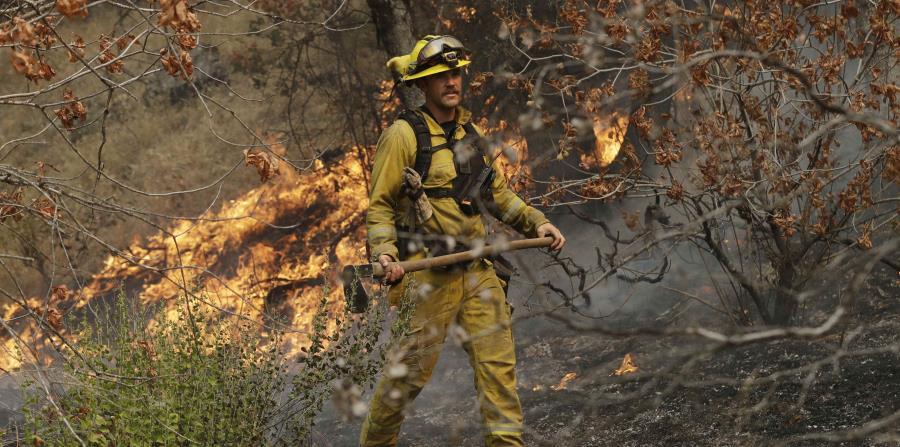 Un bombero trabaja para contener las llamas en la zona de Redding, en California (horizontal-x3)