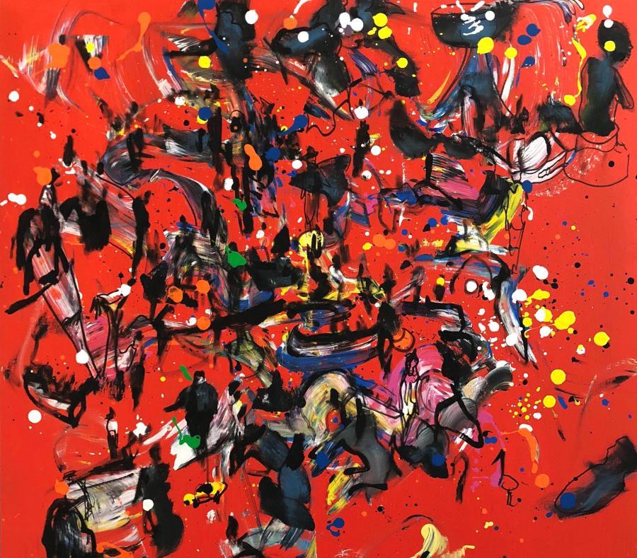 """""""Arpa roja"""" y """"Pasadía en el mar con Sandra"""", dos piezas incluidas en la exhibición. (Suministrada) (semisquare-x3)"""