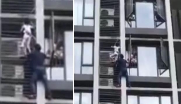 El heroico rescate de un padre que trepó un edificio para salvar a su hijo. (horizontal-x3)