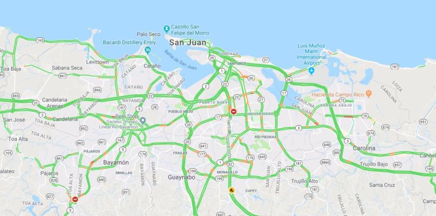 Así luce el tránsito en San Juan a las 9:175 p.m., según Google Maps. (horizontal-x3)