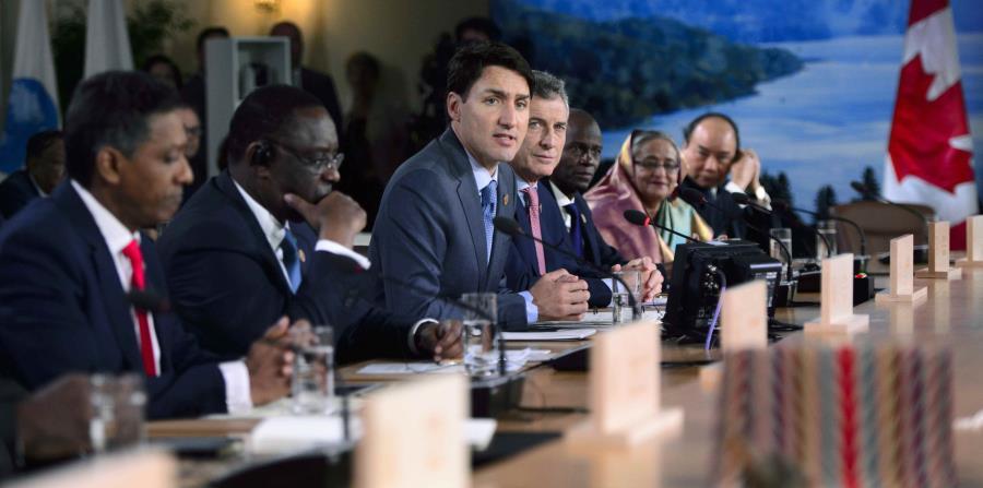 El primer ministro de Canadá, Justin Trudeau, participa de una sesión del G-7 en Quebec. (AP) (horizontal-x3)