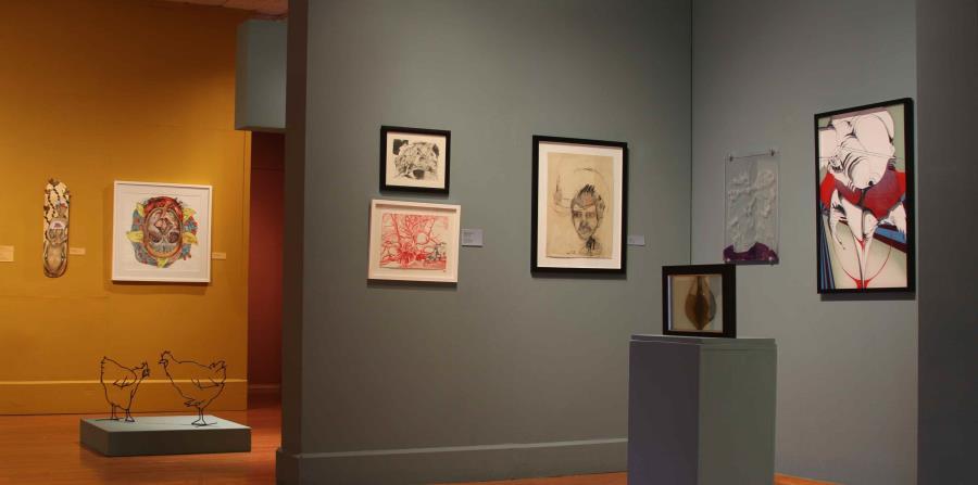 """Vista parcial de la exposición """"Línea Dura: Muestra de dibujo contemporáneo en Puerto Rico"""". (Suministrada) (horizontal-x3)"""