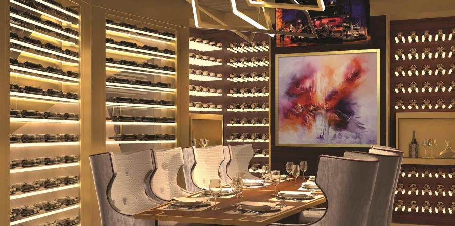 El Fine Cut Steakhouse, entre otros restaurantes a bordo, cuentan con menús diseñados por  chefs merecedores de estrellas Michelin, y a esto se une una ambientación exquisita.  (Gregorio Mayí / Especial para GFR Media)