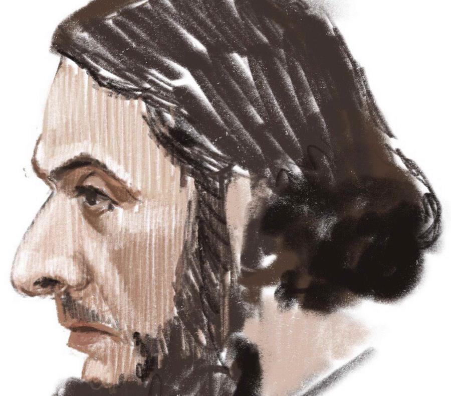 En este boceto realizado en la sala, Salah Abdeslam durante su comparecencia en el Palacio de Justicia de Bruselas. (semisquare-x3)