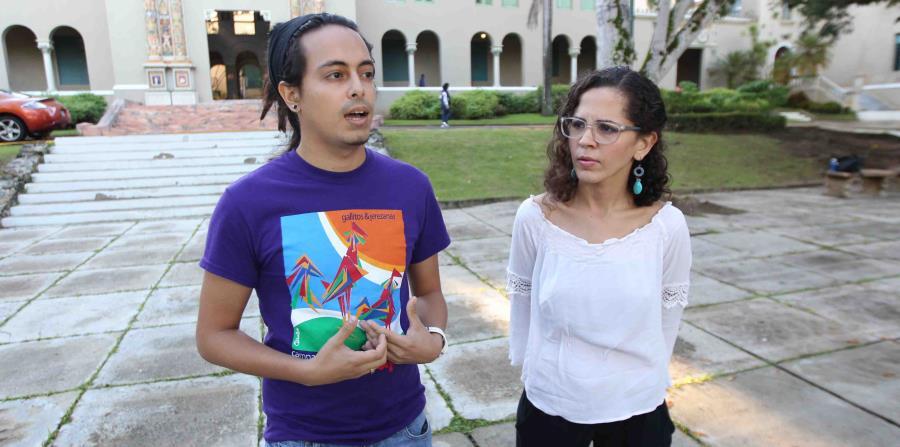 Desde la izquierda, Luis Torres y Loderay Bracero, portavoces del Movimiento Estudiantil del Recinto de Rio Piedras de la Universidad de Puerto Rico. (horizontal-x3)