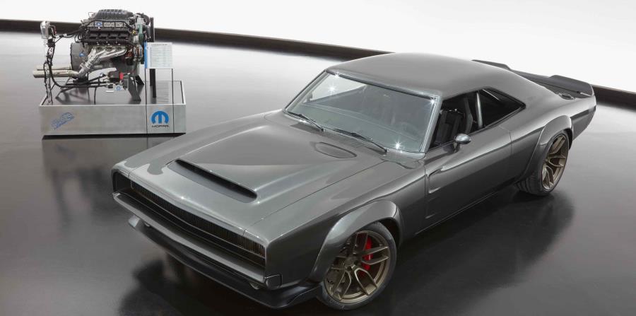 "Nuevo motor ""Hellephant"" 426 Supercharged Mopar Crate HEMI, junto al concepto 1968 Dodge ""Super Charger"" . (horizontal-x3)"