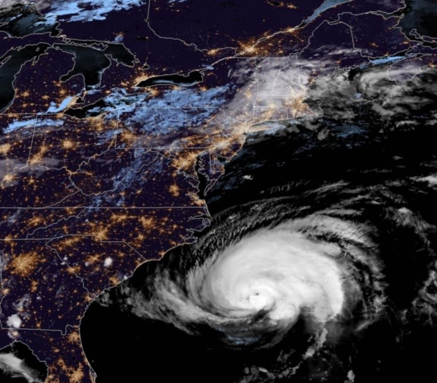 Imagen del huracán Florence del satélite GOES-16 de la Administración Nacional Oceánica y Atmosférica y la NASA. (Captura / NOAA) (semisquare-x3)