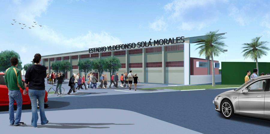 Ilustración electrónica de cómo podría quedar la nueva fachada planificada para el estadio Yldefonso Solá Morales. (Suministrada)