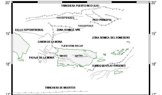 Zonas sísmicas alrededor del archipiélago de Puerto Rico. (RSPR)