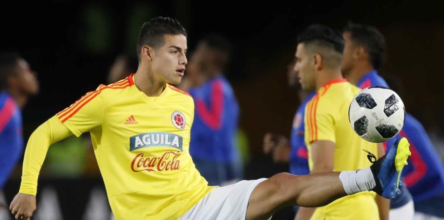 El volante de Colombia James Rodríguez previo a un amistoso en Bogotá, el viernes 25 de mayo de 2018. (AP) (horizontal-x3)