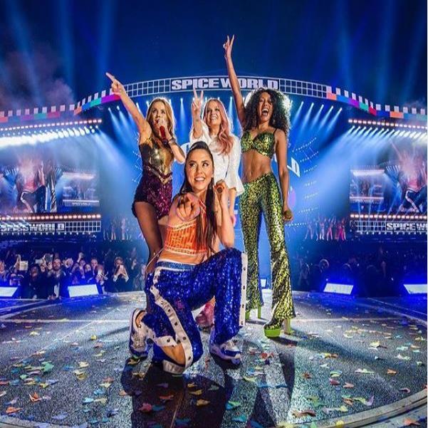El grupo Spice Girls durante su presentación en Dublín el viernes, 24 de mayo de 2019. (Instagram: @spicegirls) (semisquare-x3)