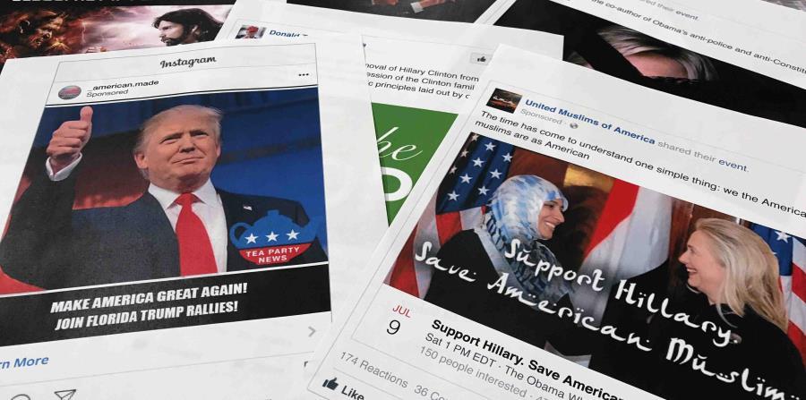 Algunos de los anuncios en Facebook vinculados con una campaña rusa para interferir con las elecciones de Estados Unidos de 2016 (horizontal-x3)