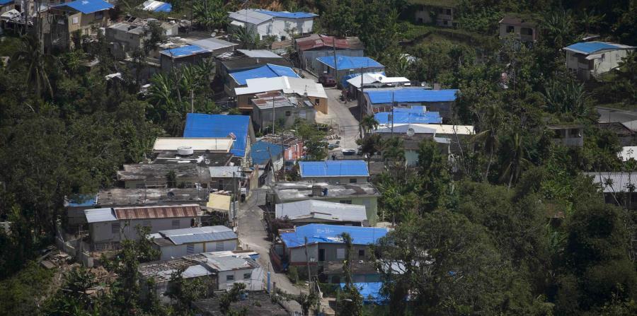 Vista aérea del pasado marzo desde Utuado donde se ven varias casas con los toldos azules. (GFR Media) (horizontal-x3)
