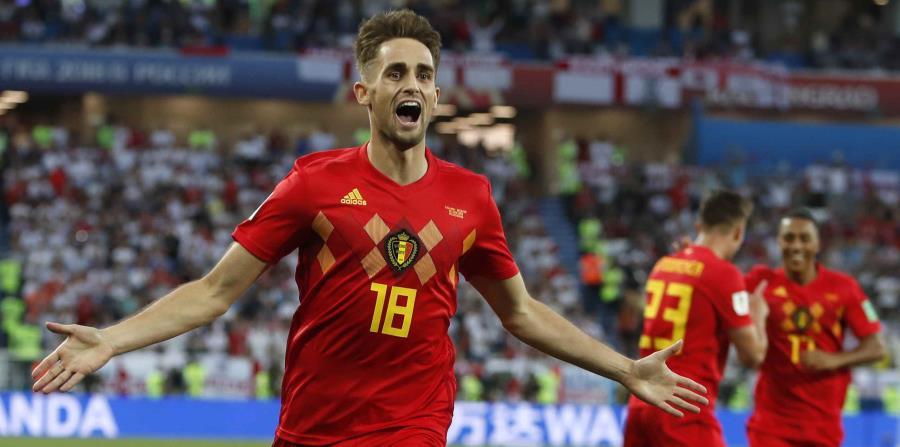 Adnan Januazi, de la selección de Bélgica, festeja luego de anotar ante Inglaterra en un encuentro del Mundial disputado el jueves 28 de junio de 2018 en Kaliningrado, Rusia (horizontal-x3)