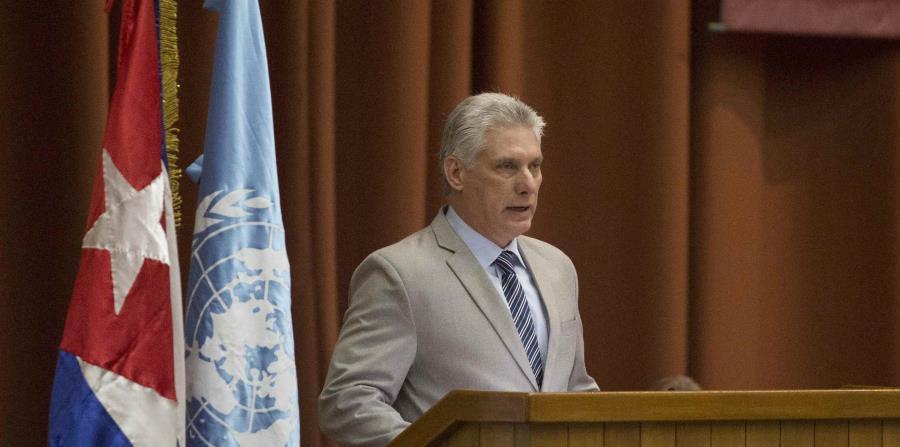El presidente de Cuba, Miguel Díaz-Canel, da un discurso durante la inauguración de la Comisión Económica de las Naciones Unidas para América Latina y el Caribe, el pasado 8 de mayo. (horizontal-x3)