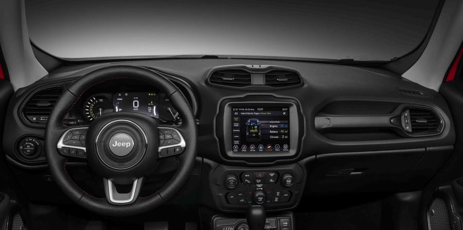 Los modelos Renegade y Compass híbridos enchufables cuentan con un cuadro de instrumentos específico y una pantalla de infoentretenimiento actualizada. (Suministrada)