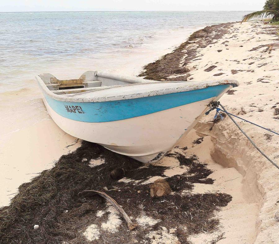 Una yola en una playa de la isla (semisquare-x3)